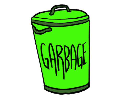 Drawing of a garbage can