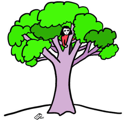 Drawing of me in a tree