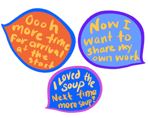 drawing of text bubbles giving feedback