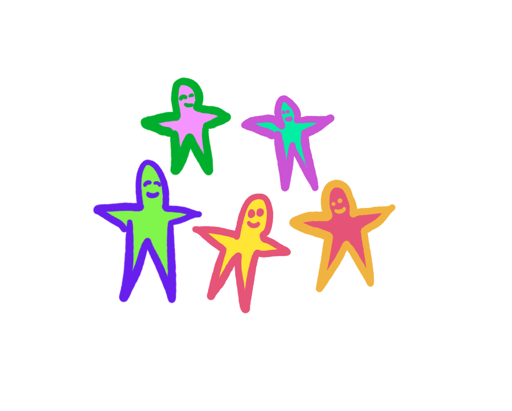 drawing happy star people
