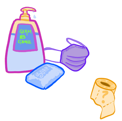 drawing of a mask, hand sanitizer, soap, and germs