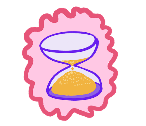 drawing of an hourglass running low