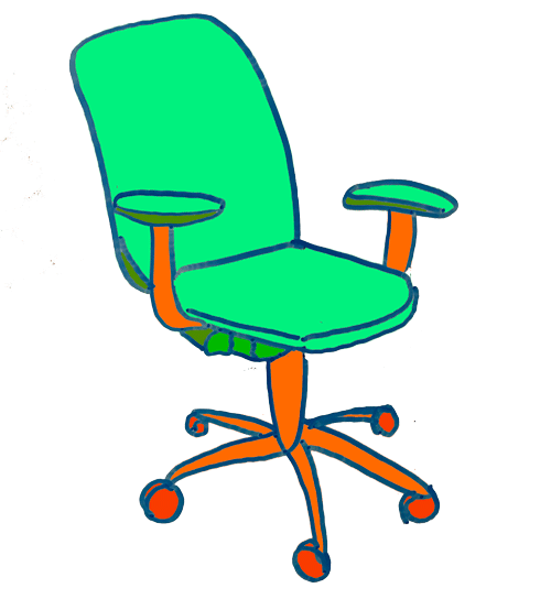 Drawing of an office chair